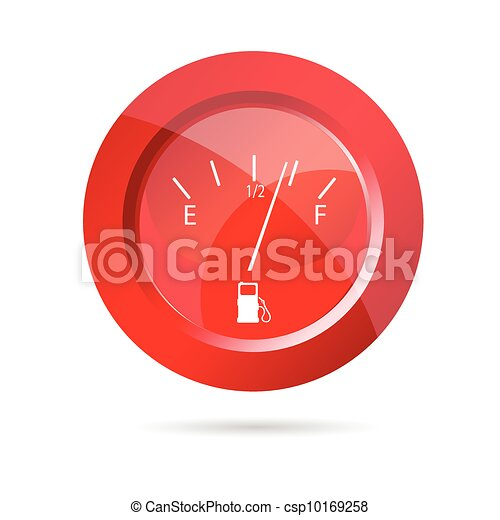 fuel gauge red icon vector illustration - csp10169258