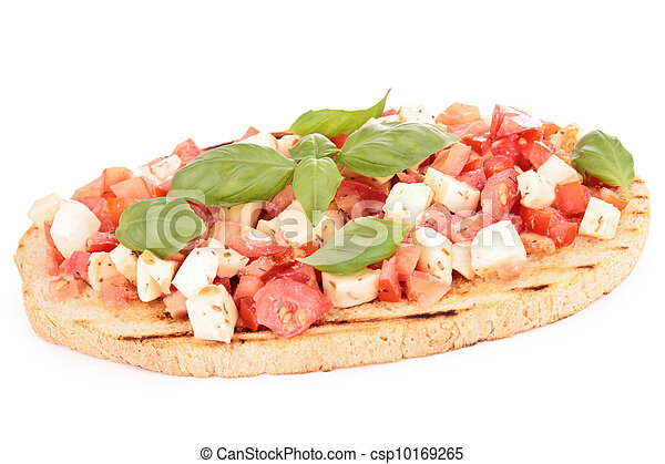 bruschetta with tomato, mozzarellla and basil - csp10169265