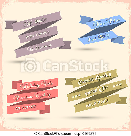 Vector set of vintage ribbons for design - csp10169275
