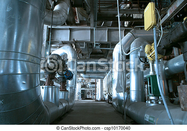Equipment, cables and piping as found inside of  industrial power plant - csp10170040