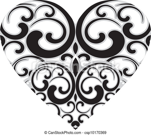 Decorated Heart Drawings Decorative Heart Design