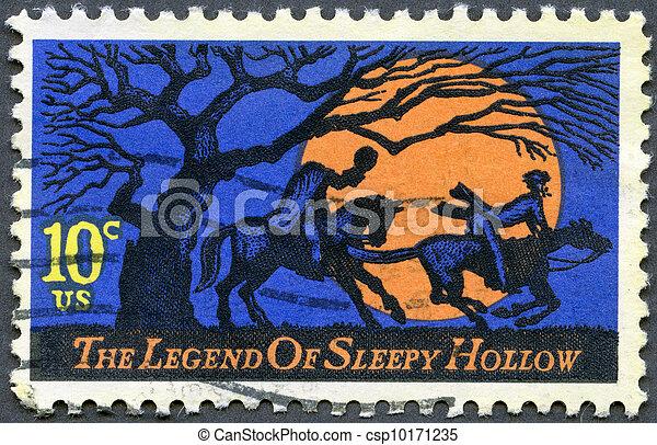 USA - CIRCA 1974: A stamp printed in USA shows Legend of Sleepy Hollow, by Washington Irving, Headless Horseman pursuing Ichabod Crane, circa 1974