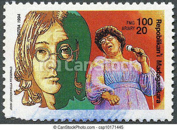 MALAGASY REPUBLIC - 1994: hows John Lennon, Ella Fitzgerald - csp10171445