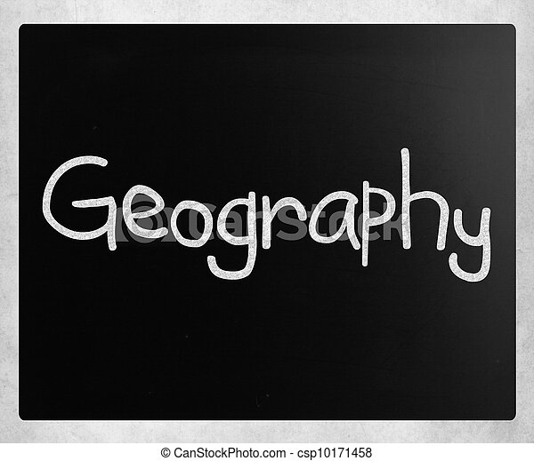 """Geography"" handwritten with white chalk on a blackboard - csp10171458"