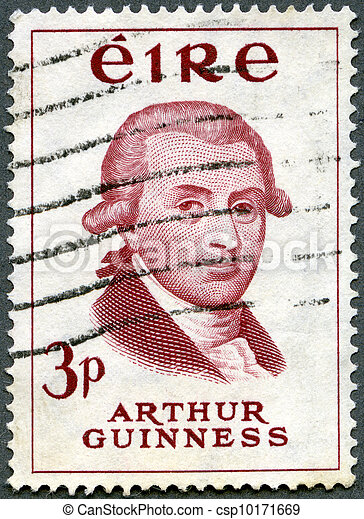 IRELAND - CIRCA 1959: stamp printed in Ireland shows Arthur Guinness (1725-1803), Bicentenary of Guinness Brewery, circa 1959 - csp10171669