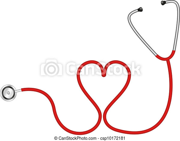 Vector - Stethoscope in shape of heart - stock illustration, royalty ...
