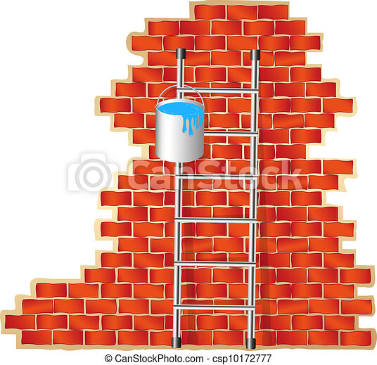 Ladder with bucket of blue colour  - csp10172777