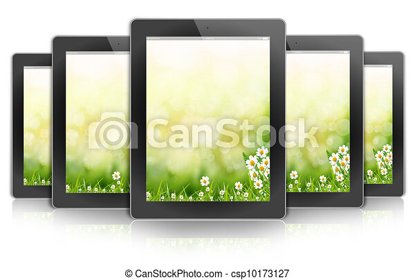 ecologic ipad design tablet PC, background bokeh flower - csp10173127