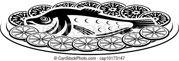 Icon of a fish dish - csp10173147