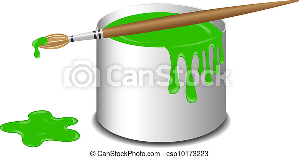 Bucket of green paint and a brush - csp10173223