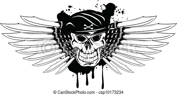 skull in beret and daggers - csp10173234