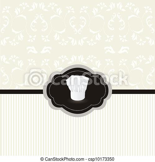 Vintage design card, chef hat frame - csp10173350