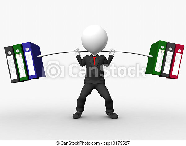 Overload 3D businessman lifting weights made of heavy files - csp10173527