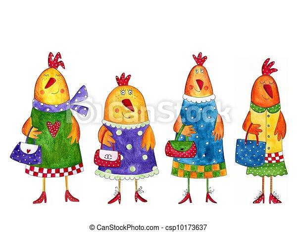 gallinas, caricatura, caracteres - csp10173637