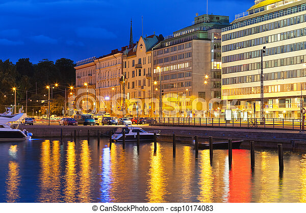 Night scenery of Helsinki, Finland - csp10174083