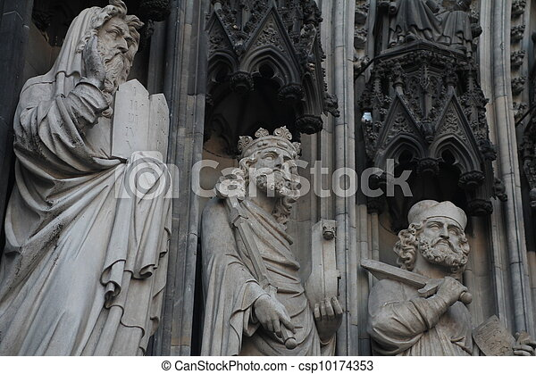 Statues on the Cathedral in Cologne - csp10174353