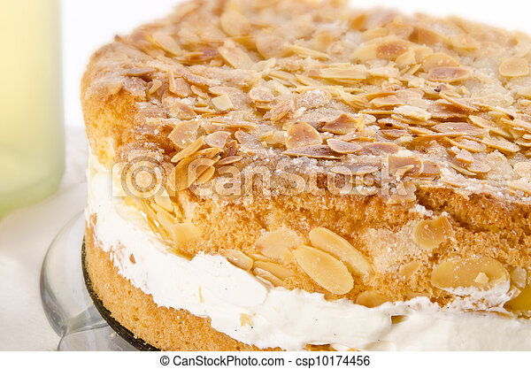 flat cake with an almond and sugar coating and a custard or cream filling - csp10174456