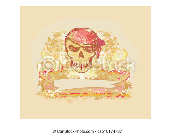 Skull Pirate - retro card  - csp10174737