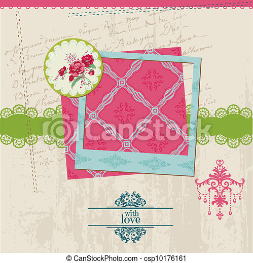 Scrapbook Design Elements - Vintage Flower Card with Photo Frame - in vector - csp10176161