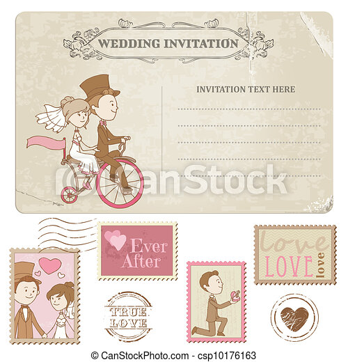 Wedding Postcard and Postage Stamps - for wedding design, invitation, congratulation, scrapbook - csp10176163