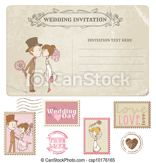 Wedding Postcard and Postage Stamps - for wedding design, invitation, congratulation, scrapbook - csp10176165