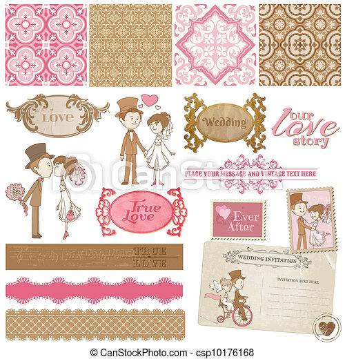 Scrapbook Design Elements - Vintage Wedding Set - for your design, invitation, congratulation - csp10176168