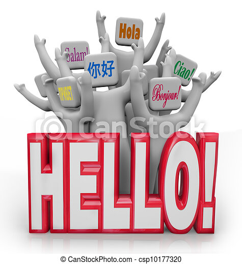 Hello People Greeting in Different International Languages - csp10177320