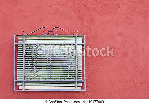 stock bild von fenster gitter und rotes fensterl den. Black Bedroom Furniture Sets. Home Design Ideas