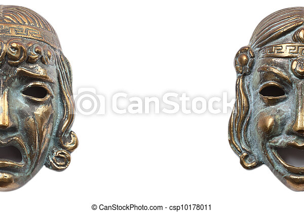 Greek bronze masks representing tragedy and comedy - csp10178011