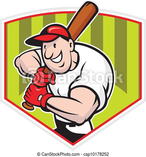 Baseball Player Batting Diamond Cartoon - csp10178252