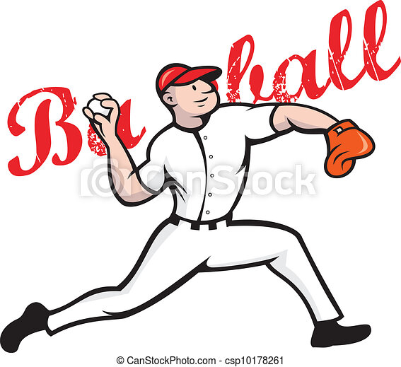 Clip Art Vector of Baseball Pitcher Player Cartoon ...