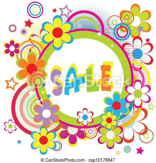 Sale advertisement with circles and flowers - csp10178847