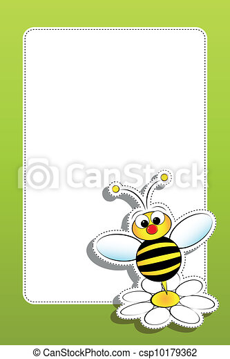 Bee with daisy and blank frame - csp10179362
