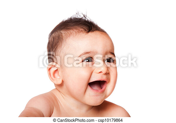 Happy laughing baby face - csp10179864