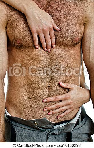 Female hands unbuckle mans pants. - csp10180293