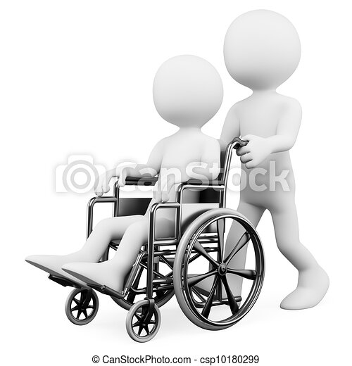 3D white people. Helping a handicapped - csp10180299
