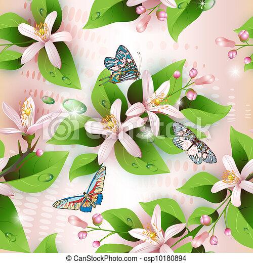 Elegance seamless flowers pattern - csp10180894