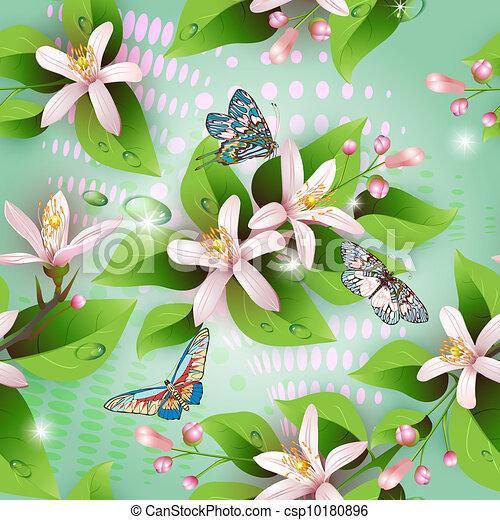Elegance seamless flowers pattern - csp10180896