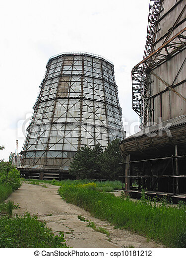 Water cooling tower at old power plant - csp10181212