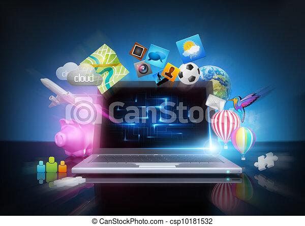 Moderne, technologie, -, média, cahier, concept