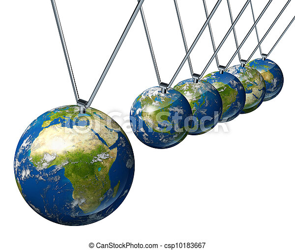 World economy pendulum with Africa and the Middle East industry affecting the economies and financial politics of north america and europe as well as the rest of the world powers.  - csp10183667