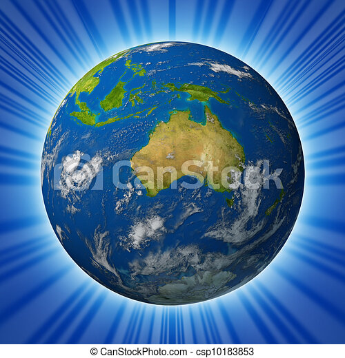 Earth With Australia On A Radiant background - csp10183853
