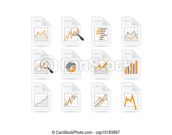 Statistics and analytics file icons - csp10183967