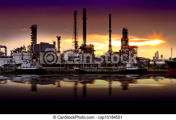 Landscape of river and oil refinery factory - csp10184551