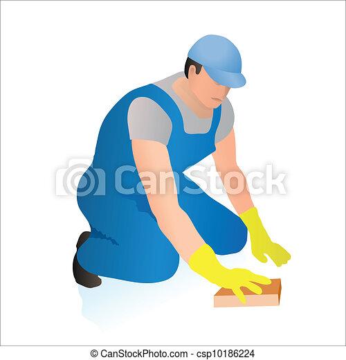 矢量-专业人员, 清洁工, 擦去, flo