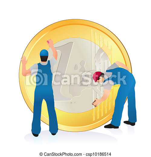 Two professionals cleaning the big  - csp10186514