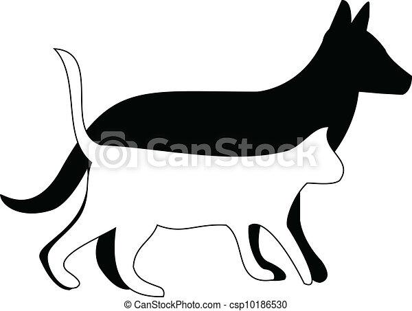 矢量-猫, 狗, 走, 侧面影象