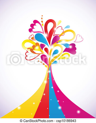 Painting colorful tree. Vector illustration - csp10186943
