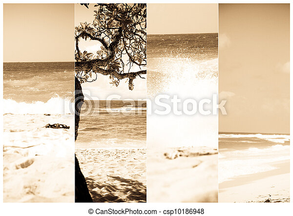 Summer vacations banners. Beach in Bali, Indonesia  - csp10186948