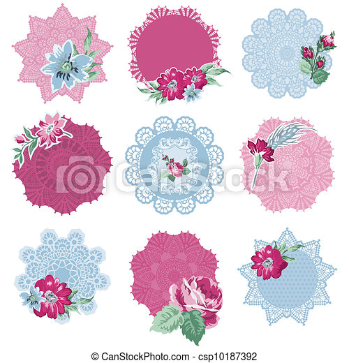 Scrapbook Design Elements - Tags with Flowers - in vector - csp10187392